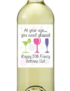 wine bottle label 90th birthday | Happy Birthday Wine Bottle Labels Retro Funny DIY Printable Customized ...