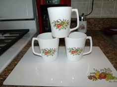 After a long wait, I found 3 Centura by corning D handle 11oz spice of life mugs, so happy