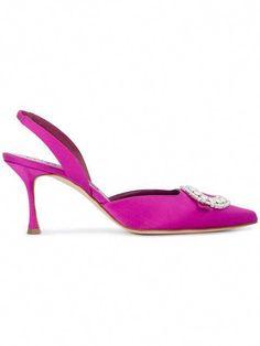 69cb9679e3 Shop Manolo Blahnik Pink Fiboslac crystal 85 Satin Slingbacks #ManoloBlahnik