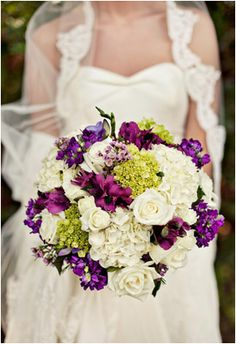 What a beautiful green, purple, and white bouquet!
