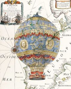 Hot air Balloon Print, on a reproduction of an antique map of Europe, from beautiful vintage XVII century map and illustrations, digitally enhanced and printed on heavyweight matte Epson paper. Air Ballon, Hot Air Balloon, Vintage Ephemera, Vintage Paper, Ballon Illustration, Steampunk, Printed Balloons, Dictionary Art, Free Graphics