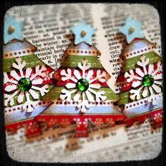 Handmade Christmas tree paper embellishments