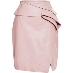 Elie Saab Blush Peplum Leather Skirt (165.535 RUB) ❤ liked on Polyvore featuring skirts, bottoms, falda, pink peplum skirt, layered skirt, pink layered skirt, slit skirt and pink leather skirt
