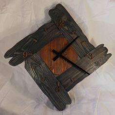 Wood Geometry wall clock, Rustic, Clock of distressed wood Clock Art, Diy Clock, Clock Decor, Unusual Clocks, Cool Clocks, Rustic Wall Clocks, Wall Clock Design, Modern Clock, Grandfather Clock