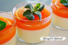 Panna cotta cu jeleu de portocale este un delicios  si aromat desert, foarte simplu de preparat, potrivit pentru acesta perioada cand gasim portocale din belsug. Deserts, Ethnic Recipes, Halloween, Food, Mint, Essen, Postres, Meals, Dessert