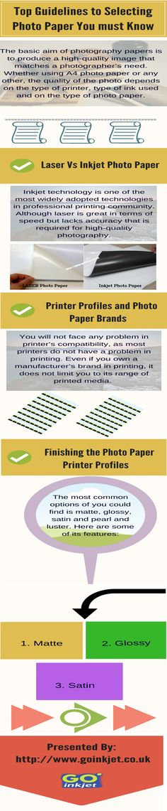 The basic aim of photography papers is to produce a high-quality image that matches a photographer's need. Whether using A4 photo paper or any other, the quality of the photo depends on the type of printer, type of ink used and on the type of photo paper.