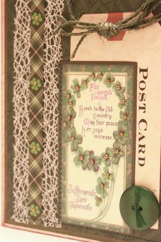 St. Patrick's Day Card - For Emerald Ireland - Vintage St Patrick's Day Card - Irish Card - Celtic Card