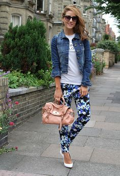 Denim Jacket & floral pants Fashion Trends for Spring 2014: 30 Outfit Ideas Inspired from the Runway