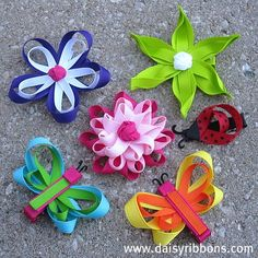DIY handmade hair bows - ribbon flowers and butterflies. The butterfly/dragonfly ones are so cute! Ribbon Art, Ribbon Hair Bows, Girl Hair Bows, Ribbon Crafts, Girls Bows, Fabric Crafts, Sewing Crafts, Band Kunst, Crafts To Make