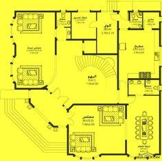 خرائط الفيلا DY-03 - غرف نوم 4 18.10م عرض - 17.90م عمق 3d House Plans, Narrow House Plans, House Layout Plans, House Layouts, Villa Design, House Design, Double Story House, Circle House, Villa Plan