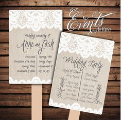 Hey, I found this really awesome Etsy listing at https://www.etsy.com/listing/191543928/wedding-program-fan-with-lace-burlap