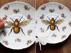 upcycling vintage plates with decals!