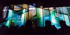 "Genius Loci Weimar 2013 Facade projection festival // Location: Bauhaus University Weimar // RDV Collectif: ""Legacy"" // Photo: www.henry-sowinski.info Genius Loci, Bauhaus, Facade, Fair Grounds, University, Weimar, Facades, Colleges"