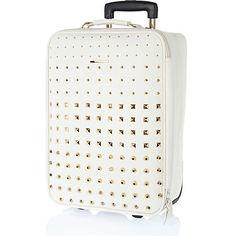 White multi studded wheelie suitcase $140.00