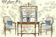 Seven on Sunday - The Enchanted Home E Design, Interior Design, Enchanted Home, Traditional Decor, Chinoiserie, Design Projects, Dining Chairs, Sunday, Blue And White