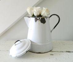 Vintage White Enamel Teapot Coffee Pot by @alwaysmaybevintage