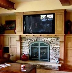 tv above fireplace ideas | Television Fireplace Surround! by Linda Lavoie