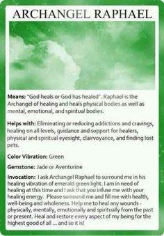 Archangel Raphael #healing #angels #inspiration www.facebook.com/angelsoflight44