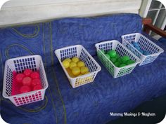 Color sorting game: great large motor activity for a rainy day
