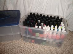I like this because you do not want to overlap nail polish bottles on top of one another. They can break, and it's harder to find/select your color choice if you have so many like me. | nail polish organization