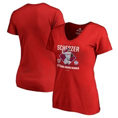 Max Scherzer Washington Nationals Fanatics Branded Women's 2017 National League Cy Young Award V-Neck T-Shirt – Red