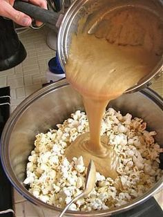 INGREDIENTS Caramel Corn 12 C popped popcorn (about 1/2 C kernels) 1 C brown sugar 1/4 C white Karo syrup 1/2 t salt 1 stick real butter 1/2 t baking soda 1 t vanilla DIRECTIONS Pop popcorn and place in a very large bowl; set