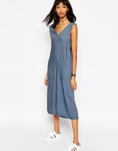 Image 1 ofASOS Chambray Jumpsuit with Banded Sides and Culotte Leg