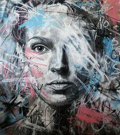 Mind Blowing Street Art By Famous David Walker - Female Portraits David Walker, Walker Art, Graffiti Art, L'art Du Portrait, Art Et Illustration, Street Artists, Banksy, Face Art, Urban Art