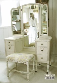 Antique Shabby Chic Gilded Dressing Table Vanity with Trifold Mirror & Matching Upholstered Bench www.prodigalpieces.com #prodigalpieces