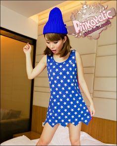 Short starry dress [PHC6316] - 13.00 : Pinkoholic, Asian Fashion Gateway