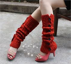 Ships Same Day Red or Cream Button Leg Warmers Cable by elgies, $12.00