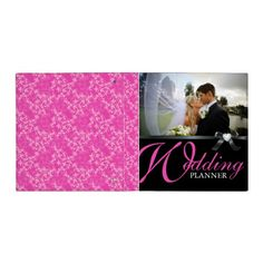 Classy Hot Pink and Black Wedding Photo Album 3 Ring Binder  #weddingbinders #weddingplanner #Weddings #brides