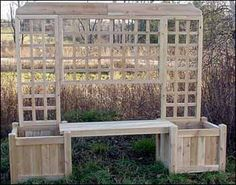 great structure for the garden - bench flower boxes and trellis in one