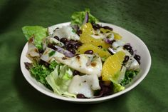 After dinner at Kellari , I had quite a few grilled calamari left. My personal trainer told me I'm not allowed to have carbs after 6 pm, so . Squid Salad, Grilled Calamari, Orange Salad, Italian Recipes, Italian Foods, Puerto Rican Recipes, Latin Food, Black Beans, Grilling Recipes