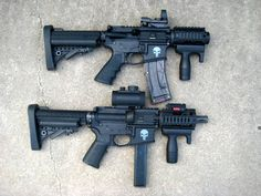 """5"""" 9mm TROS on bottom w/ 4.5"""" .22lr on top. -  HK style grips are made by """" bullet-cooker """" , here on arfcom. Very recommended for """"very short"""" shorties. http://www.ar15.com/"""
