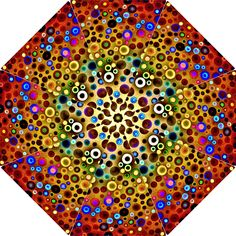 Colourful Circles Pattern Folding Umbrellas