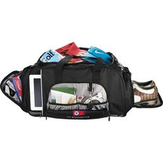 Side ventilated shoe pocket with neoprene. Duffel Bag, Leeds, Special Events, Baby Car Seats, Gym Bag, Tours, Sports, Bags, Golf
