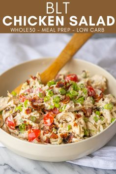 This Whole30 BLT Chicken Salad is the kind of quick and easy lunch that helps get me through the 30 days. Just pack this chicken salad up and enjoy on a bed of lettuce, in lettuce cups or simply on its own. Easy Salad Recipes, Chicken Salad Recipes, Easy Healthy Recipes, Lunch Recipes, Whole30 Dinner Recipes, Salad Chicken, Juicer Recipes, Healthy Choices, Salads Up