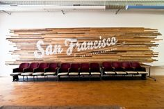 The Bold Italic office in San Francisco. Made of vintage hardwood flooring strips. Wood Slat Wall, Wood Slats, Bold Italic, Church Design, Environmental Graphics, Environmental Design, Stage Design, Set Design, California Homes