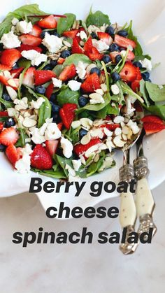 Strawberry Blueberry Spinach Salad with Goat Cheese and Almonds. This salad is easy to make all the ingredients can be found at Trader Joes and is perfect for Spring or Summer. Best Salad Recipes, Diet Recipes, Vegetarian Recipes, Cooking Recipes, Healthy Recipes, Strawberry Salad Recipes, Lunch Salad Recipes, Balsamic Salad Recipes, Gourmet