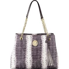 Anne Klein Dressed To Quilt Large Tote (1,500 MXN) ❤ liked on Polyvore featuring bags, handbags, tote bags, white, tassel purse, handbag tote, tassel handbag, white handbags and anne klein handbags
