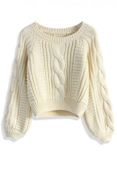 Cable Knit Crop Sweater in Beige