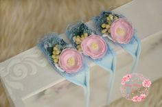 RTS light blue newborn tieback with a pink by CherryBlossomTale