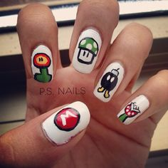 Mario Character nail art @subella4 - Collected for you!   By Vici  (http://nailsbyvici.com?char=DYI)