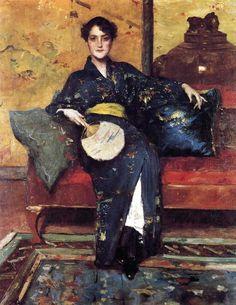 William Merritt Chase- The Blue Kimono (c.1898)