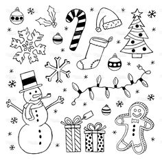 Black and white Christmas clip art images royalty-free black and white christmas clip art images stock vector art & more images of candy cane Christmas Doodles, Christmas Drawing, Christmas Clipart, Christmas Art, White Christmas, Doodle Inspiration, Bullet Journal Inspiration, Doodle Drawings, Doodle Art