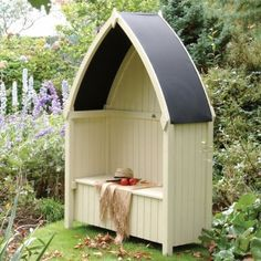 Rowlinson Winchester Arbour. A boat shaped metal roof, a strong solid timber boat shaped back with solid timber sides, and has a handy storage area beneath its hinged seat.