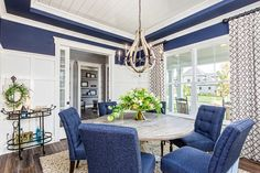 Formal Dining Room | Nautical Dining | Blue and White Room | Shiplap Ceiling | BIA Parade of Homes | Trinity Homes