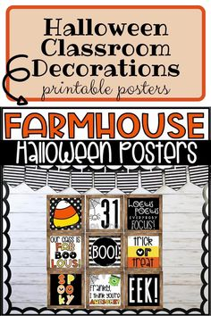 Not so scary, kid friendly Halloween posters! Easily decorate your room for Halloween with these farmhouse inspired holiday posters. You and your students will love these trendy seasonal posters! These posters are meant to compliment any farmhouse themed classroom and will also work perfectly with any other decor because of the black and white accents. Halloween classroom decorations. Halloween bulletin board. Printable classroom posters. Printable Halloween classroom decorations. Halloween Classroom Decorations, Halloween Bulletin Boards, Kindergarten Classroom Decor, High School Classroom, Classroom Walls, Printable Classroom Posters, Halloween Poster, Holiday Posters, Scary Kids