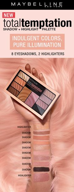 The Total Temptation Eyeshadow and Cheek Palette features eyeshadows for any makeup look! There are warm eyeshadows with a golden highlight on one side and cool eyeshadows with a pinky highlight on the other.